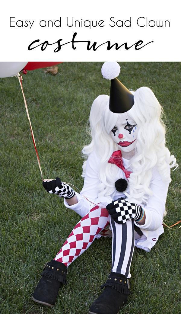 Easy and unique sad clown costume | clown costume | cute clown costume | harlequin costume | kids halloween costume ideas | easy Halloween costume ideas #halloween #halloweencostume