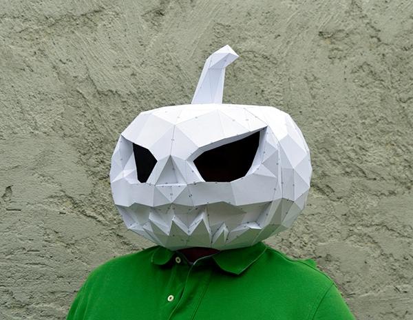 3D pumpkin paper masks
