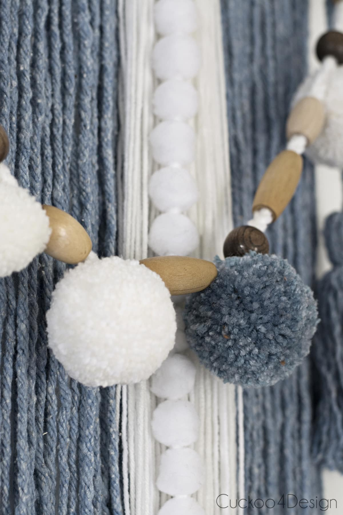 close up of mop head yarn wall hanging details