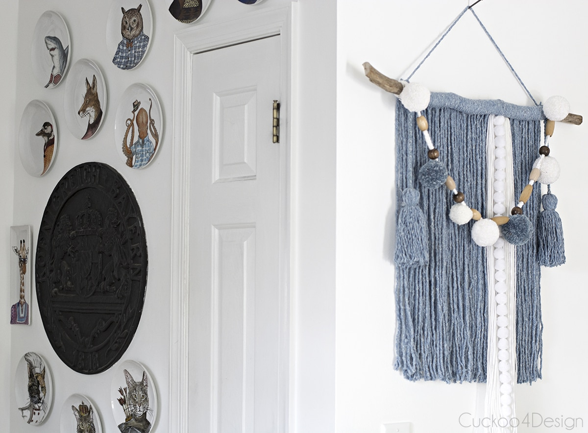 side view mop head yarn wall hanging