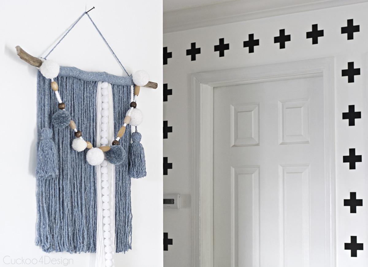 hallway view of mop head yarn wall hanging