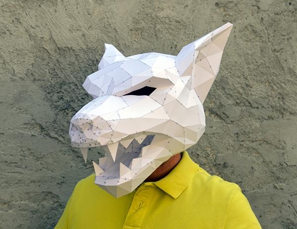 3D pumpkin wolf masks