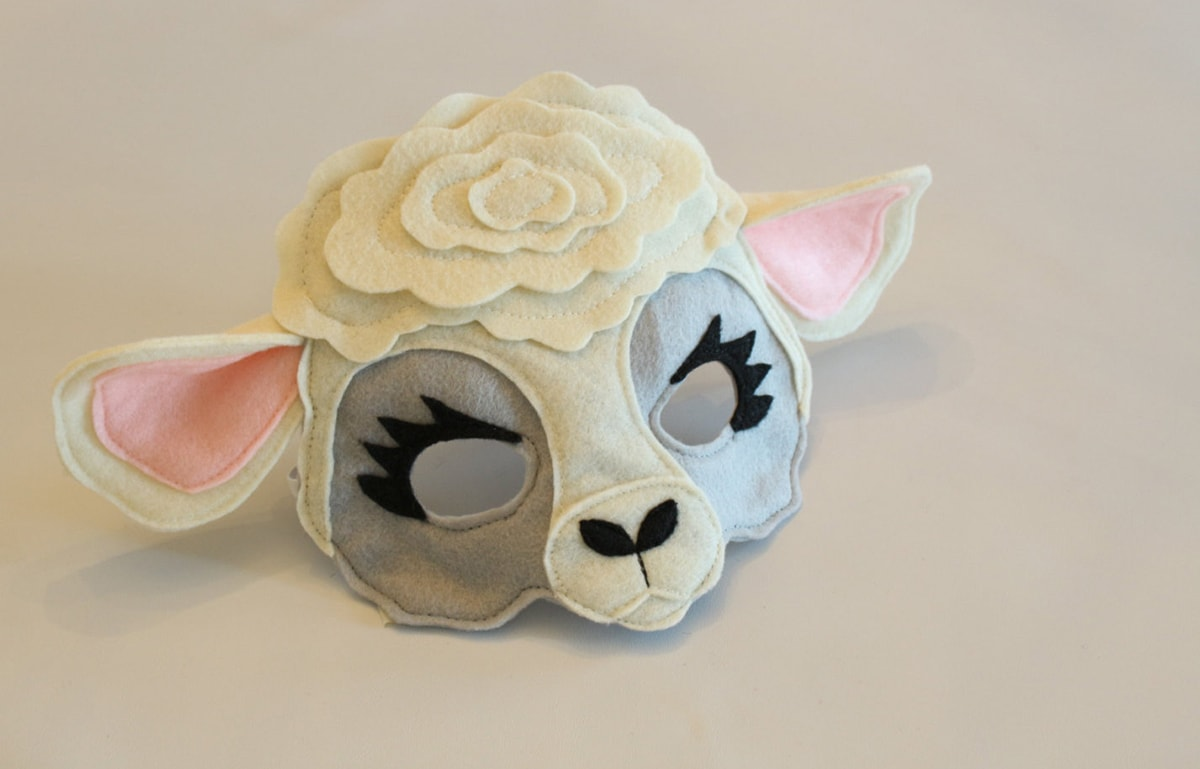 handmade felt sheep mask