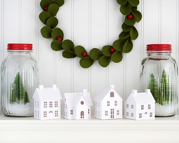 DIY white paper Christmas village kit
