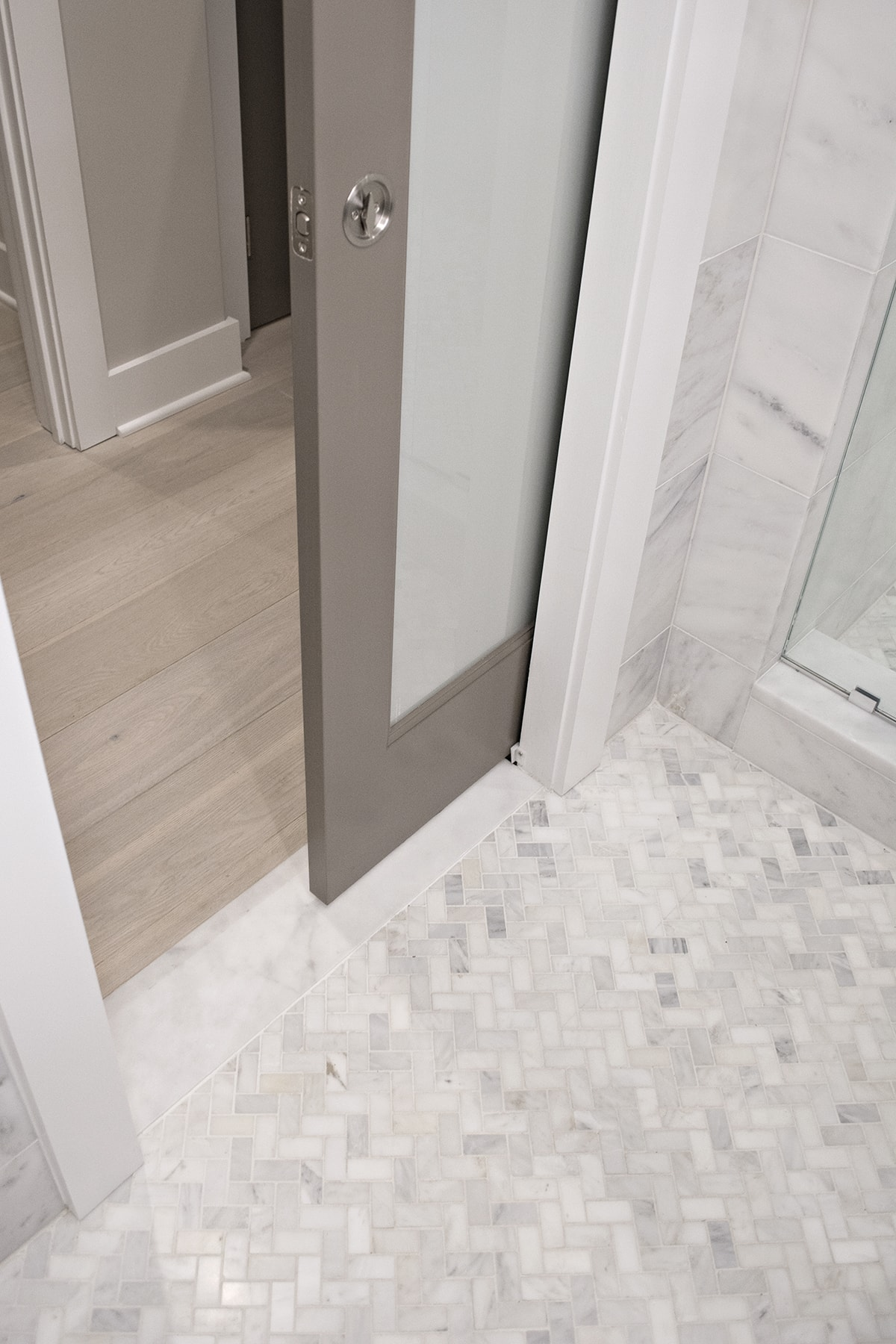 gray pocket doors to bathroom