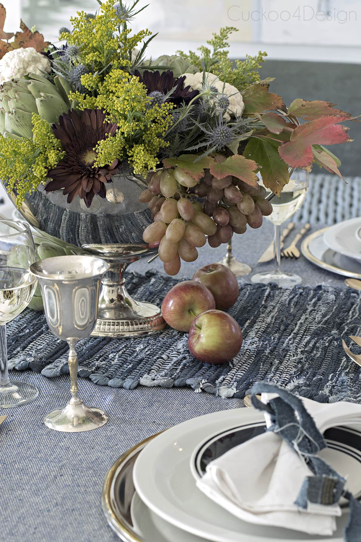 Blue Jeans Tablescape for Fall or Thanksgiving