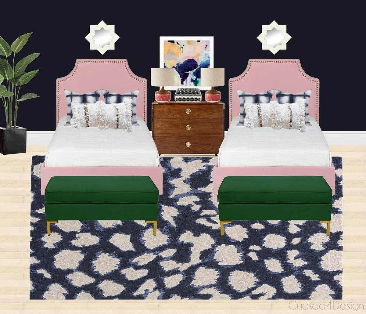 A twin girls' bedroom
