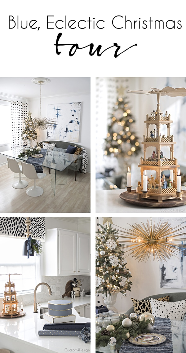 Blue Eclectic Christmas Home Tour