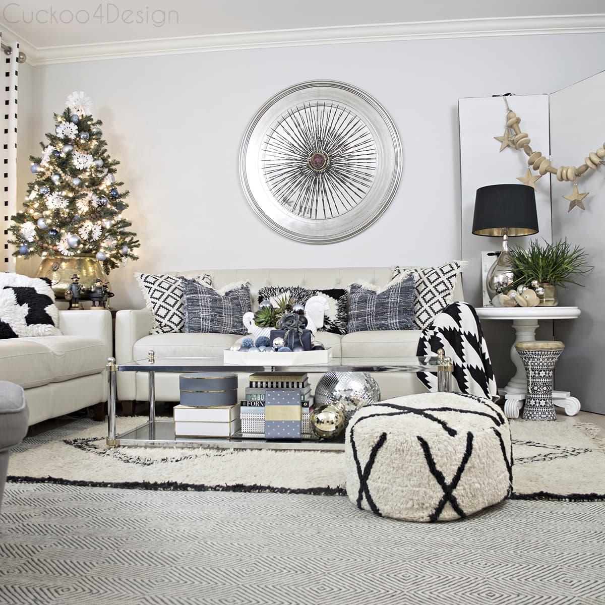 astounding black white christmas living room | Blue, Black and White Christmas | Cuckoo4Design