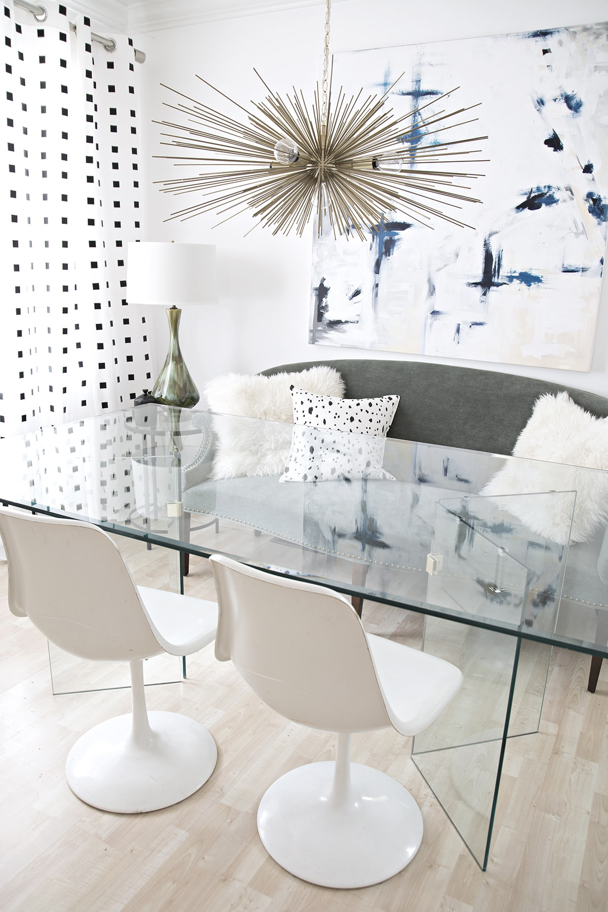 modern dining room with black and white and vintage accents
