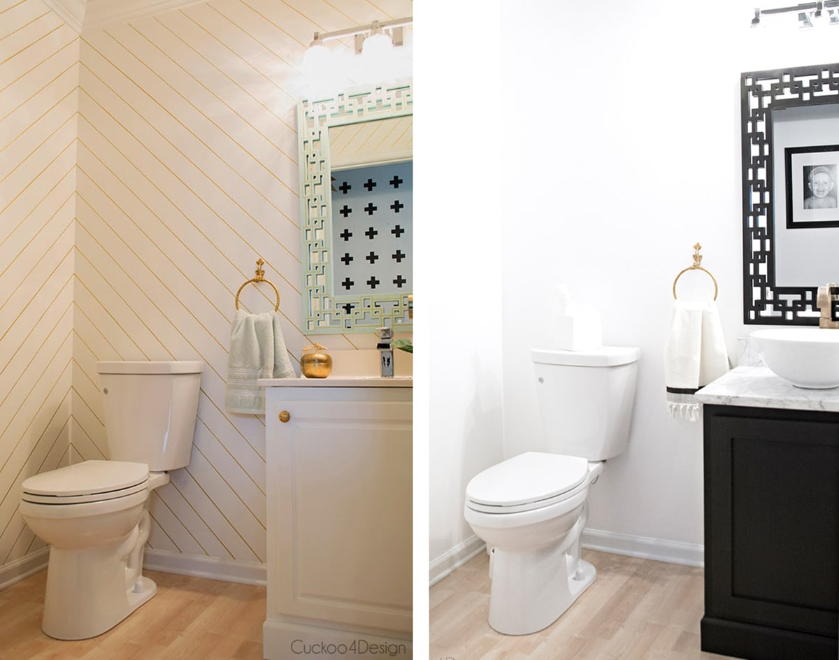 powder room painted two different ways