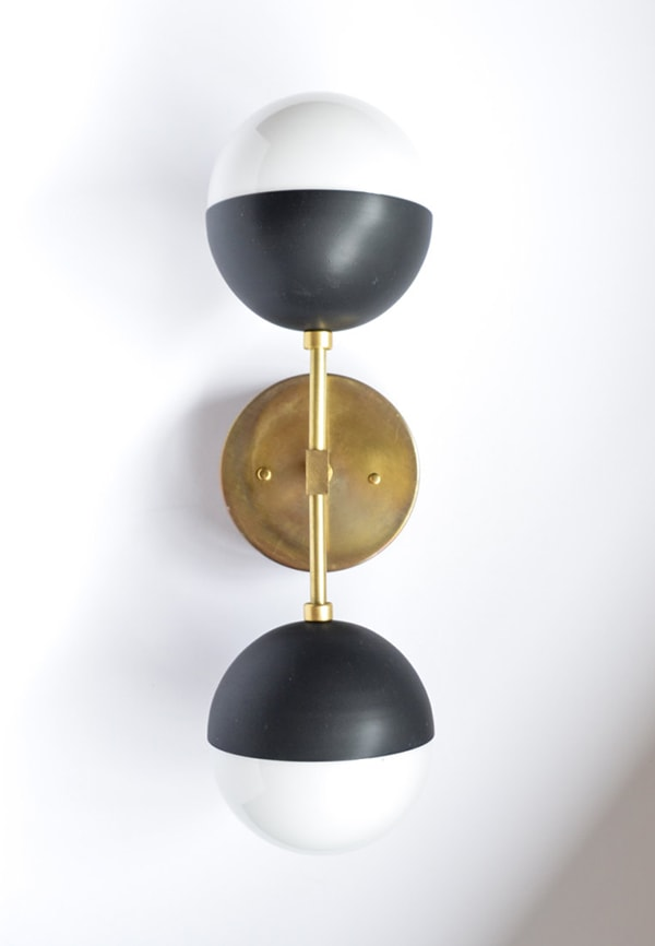 matt black and brass vanity light