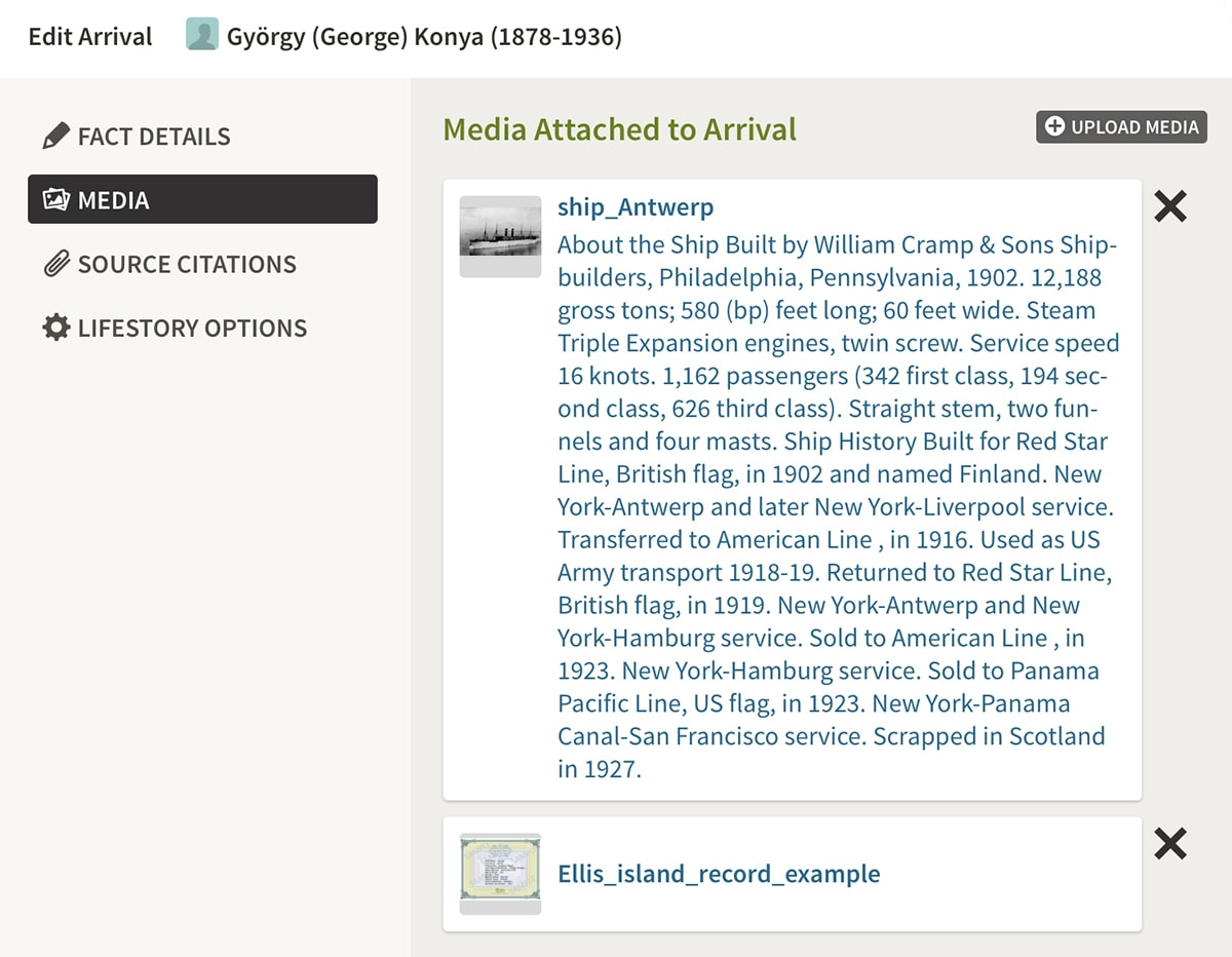 saving facts to ancestry facts on website