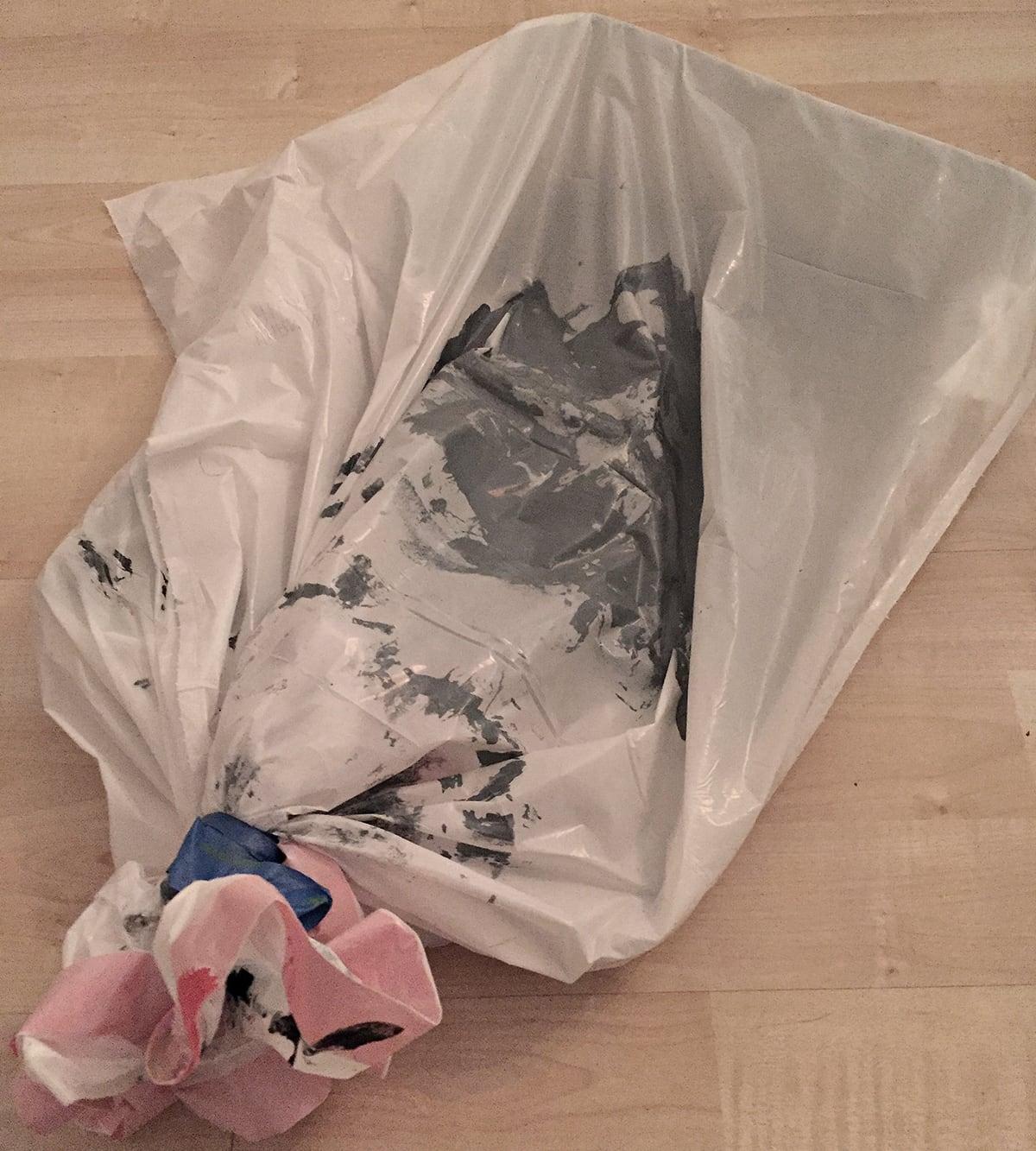 saving steps in between paint jobs with garbage bags
