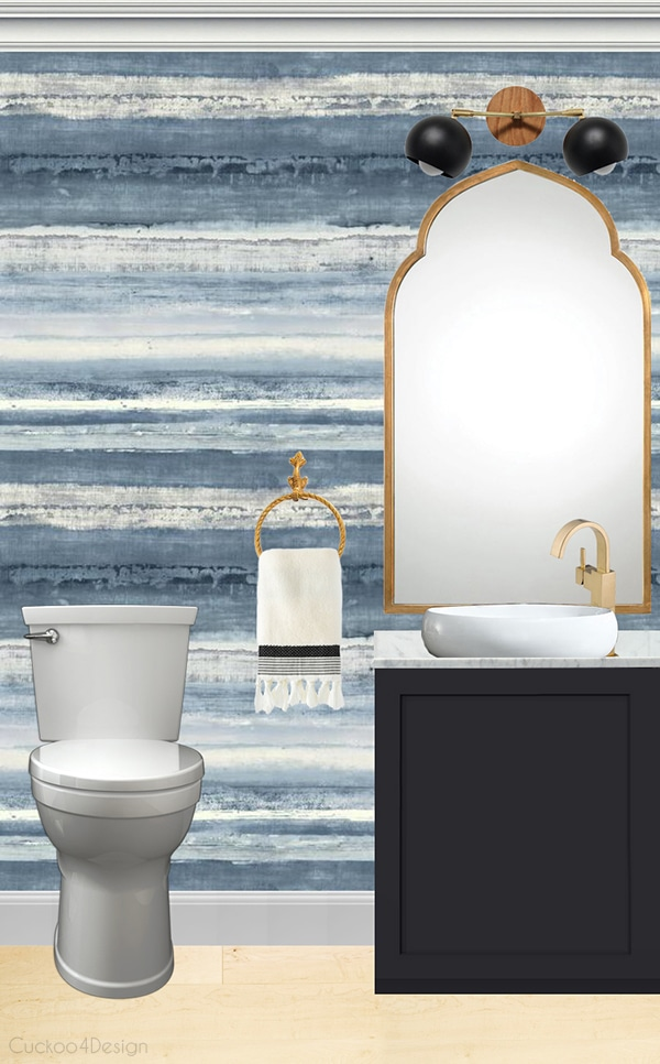 blue watercolor wallpaper in small powder room