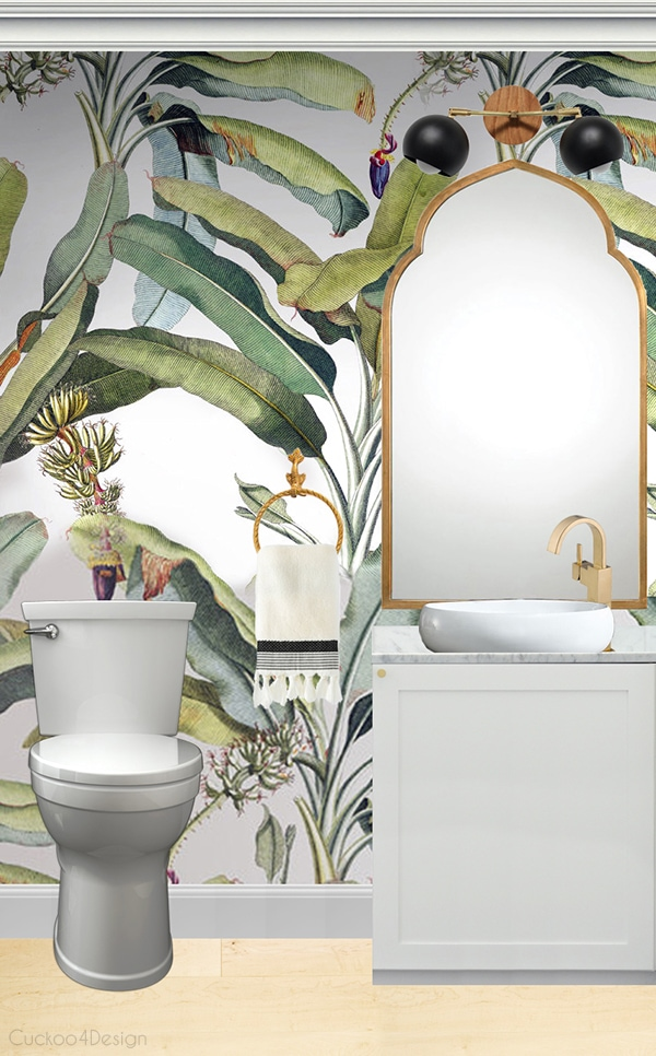 palm wallpaper in small powder room