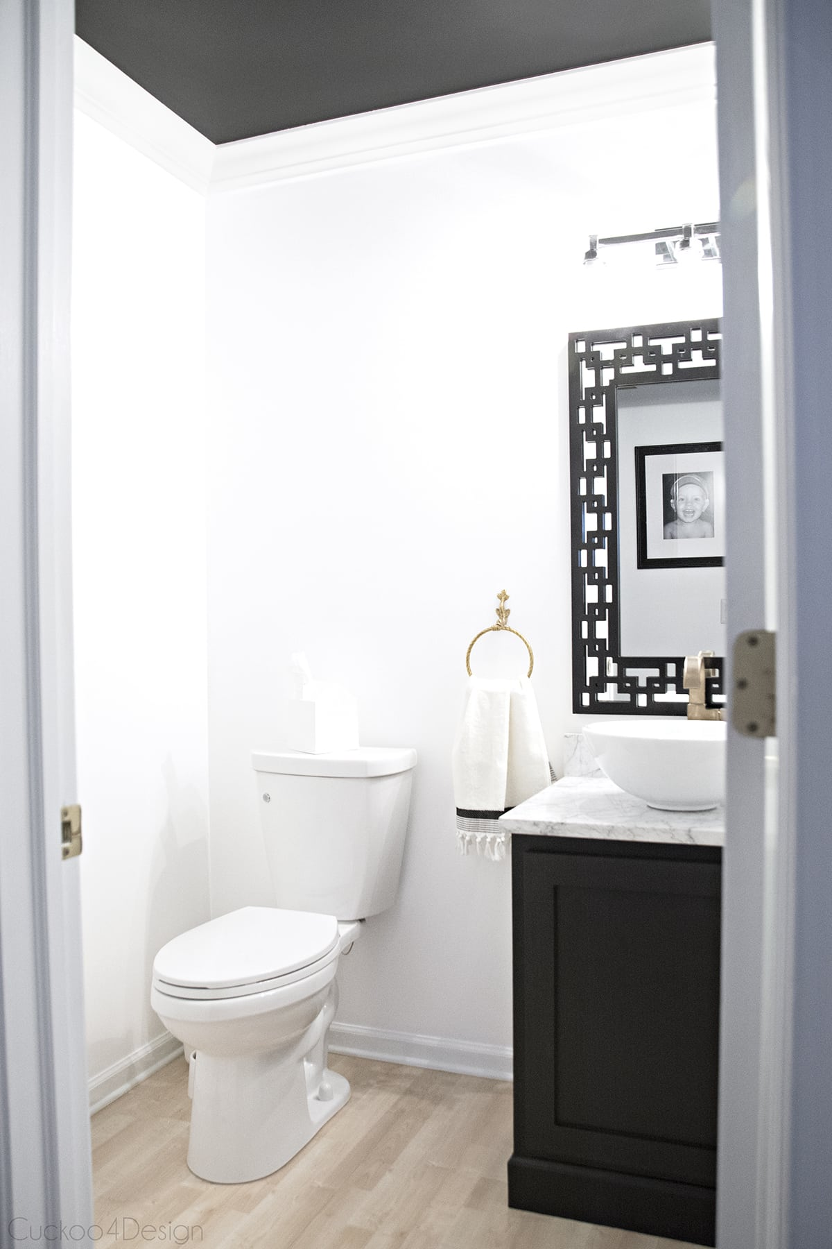 black and white powder room