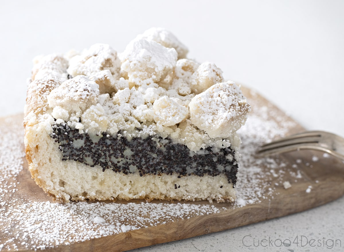 Thick German Poppyseed streussel or crumble cake recipe
