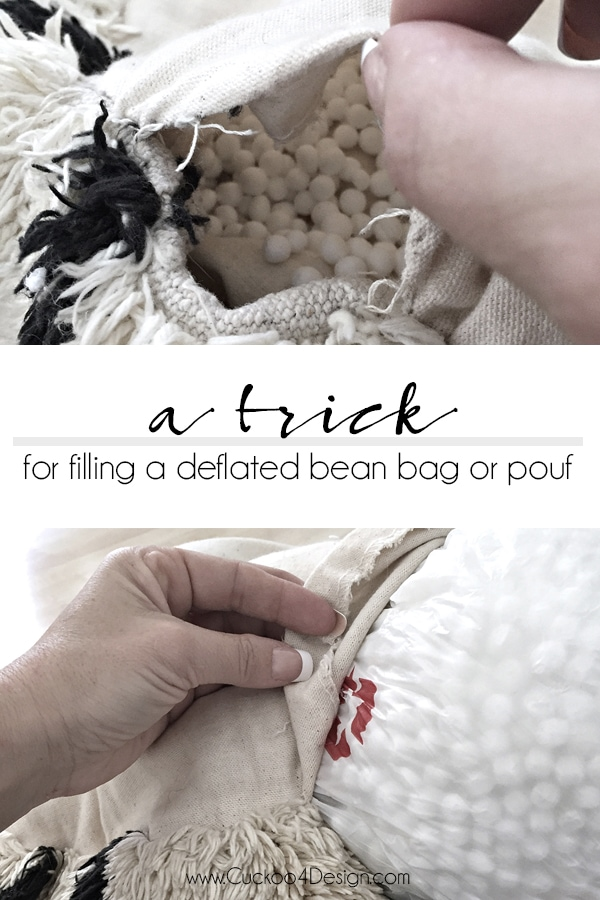 Working with styrofoam stuffing can be really annoying but this trick for re-stuffing a deflated bean bag or pouf makes it much easier. (How to stuff a pouf or bean bag)
