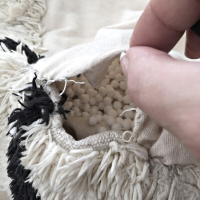 a trick for stuffing a deflated bean bag