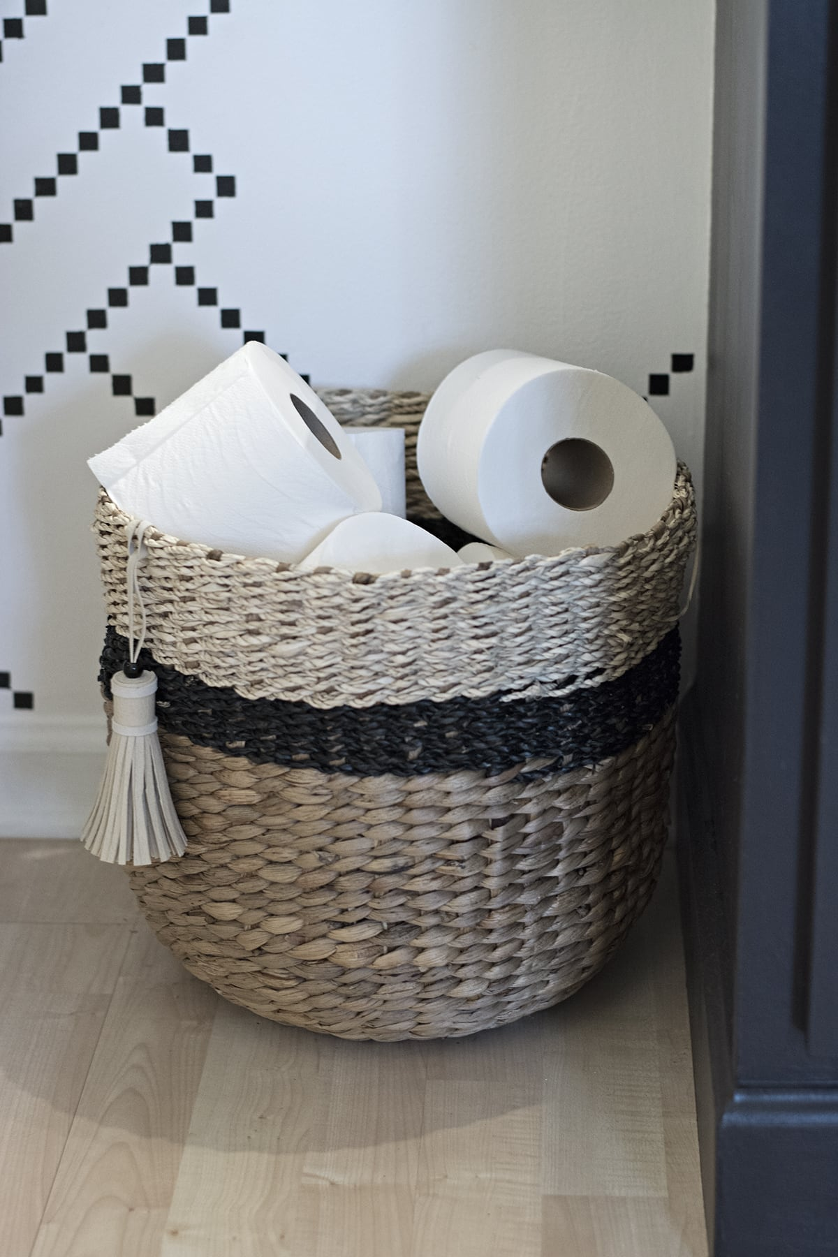 black and neutral Target Threshold woven basket
