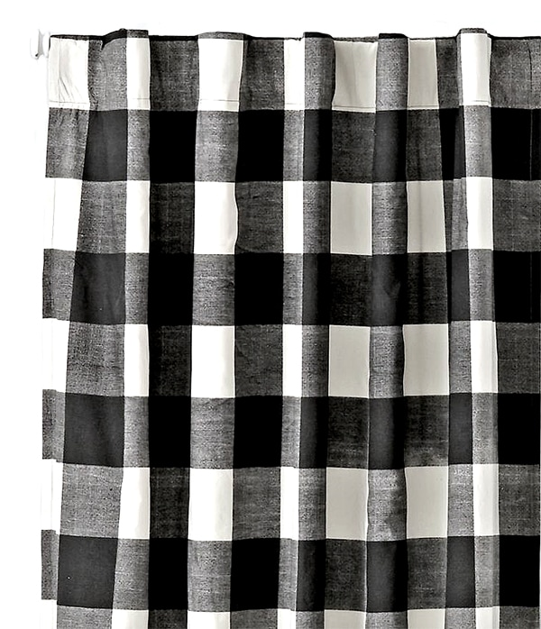 gingham black and white curtains