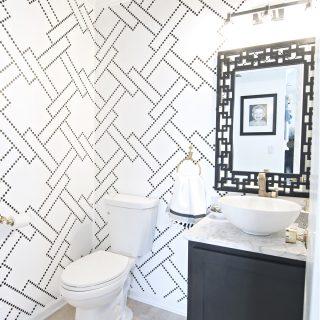 stylish black and white powder room