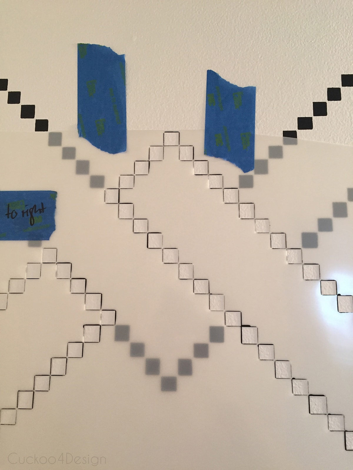 overlaying a stencil and matching the pattern