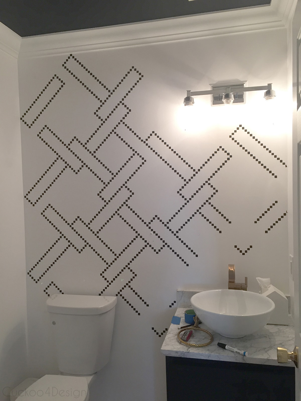 Little black squares stencil wall | Cuckoo4Design