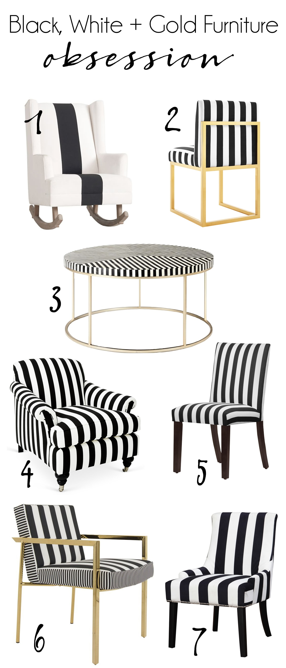 black and white striped furniture obsession with gold accents