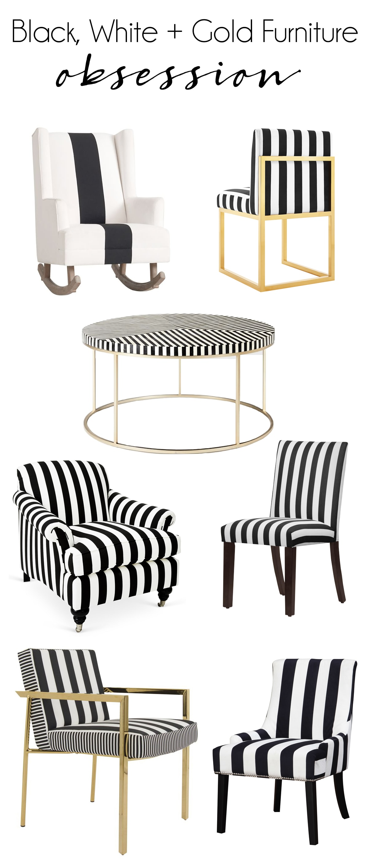 my favorite pieces of black and white striped furniture with some hints of gold