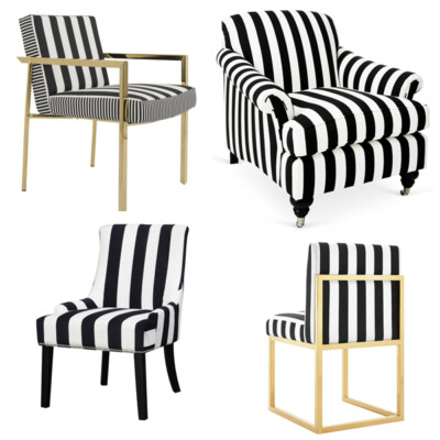 black and white striped furniture