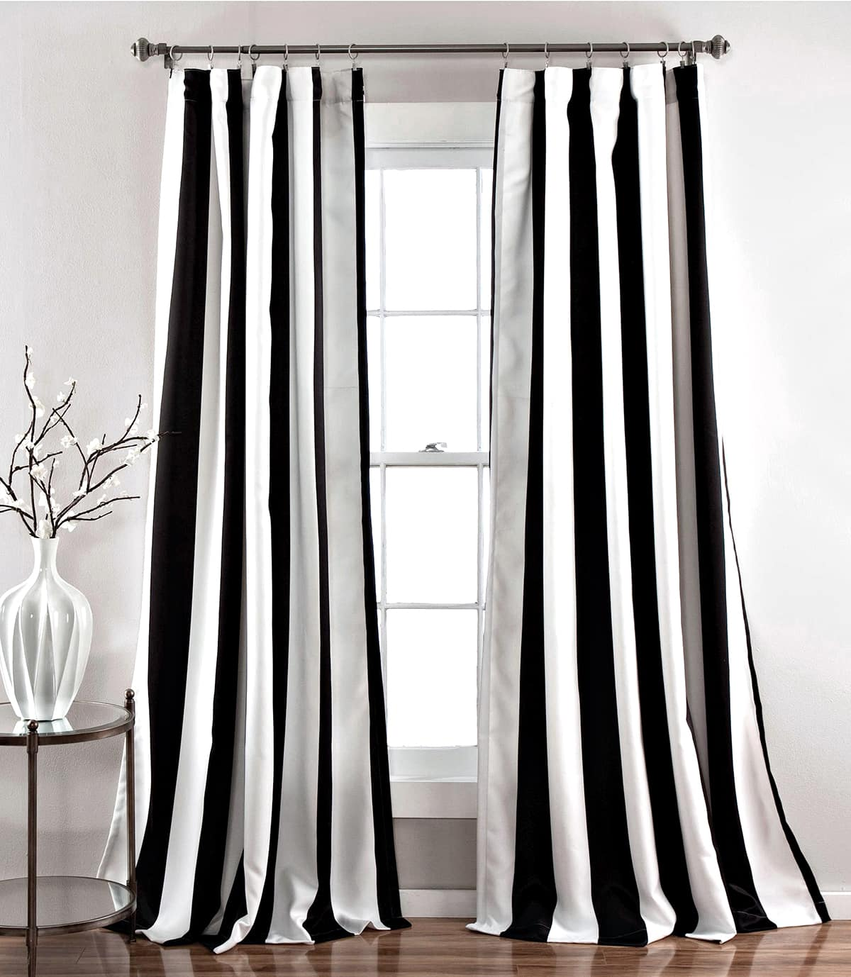 vertical black and white striped curtains