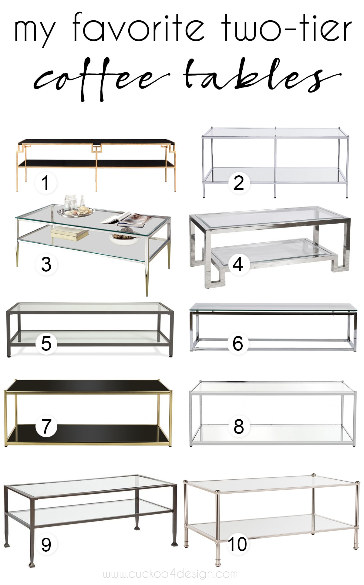 my favorite brass and chrome two-tier coffee tables