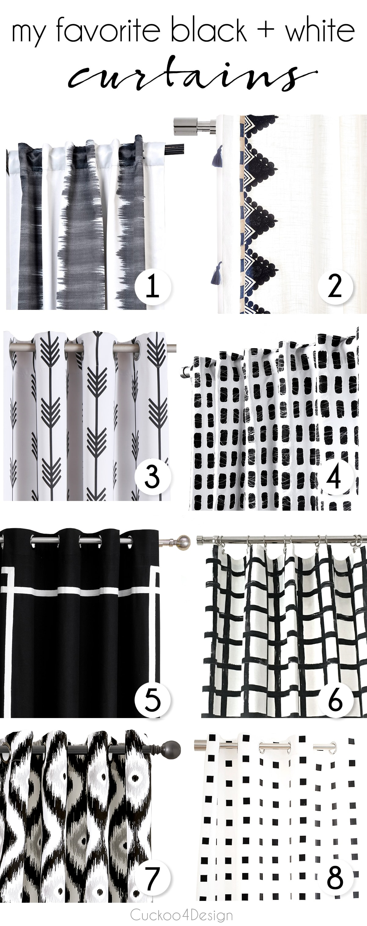 new roundup of beautiful black and white curtains