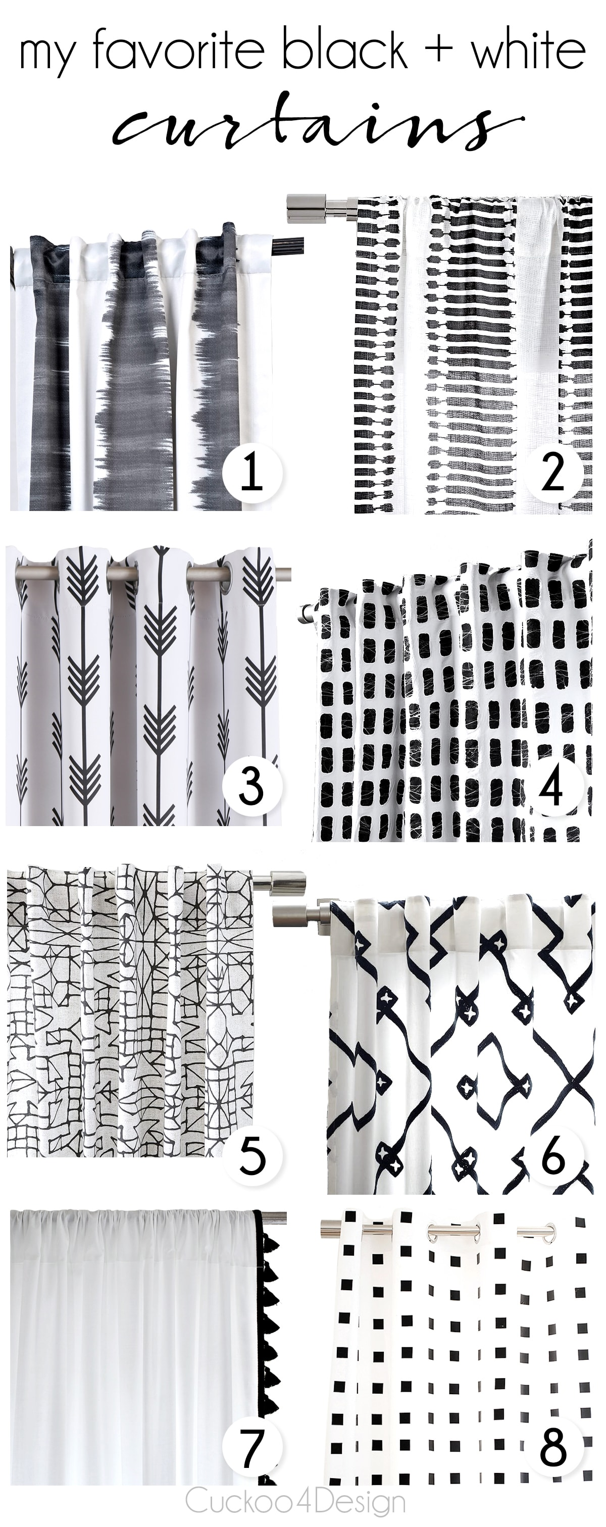 a roundup of my favorite black and white curtains