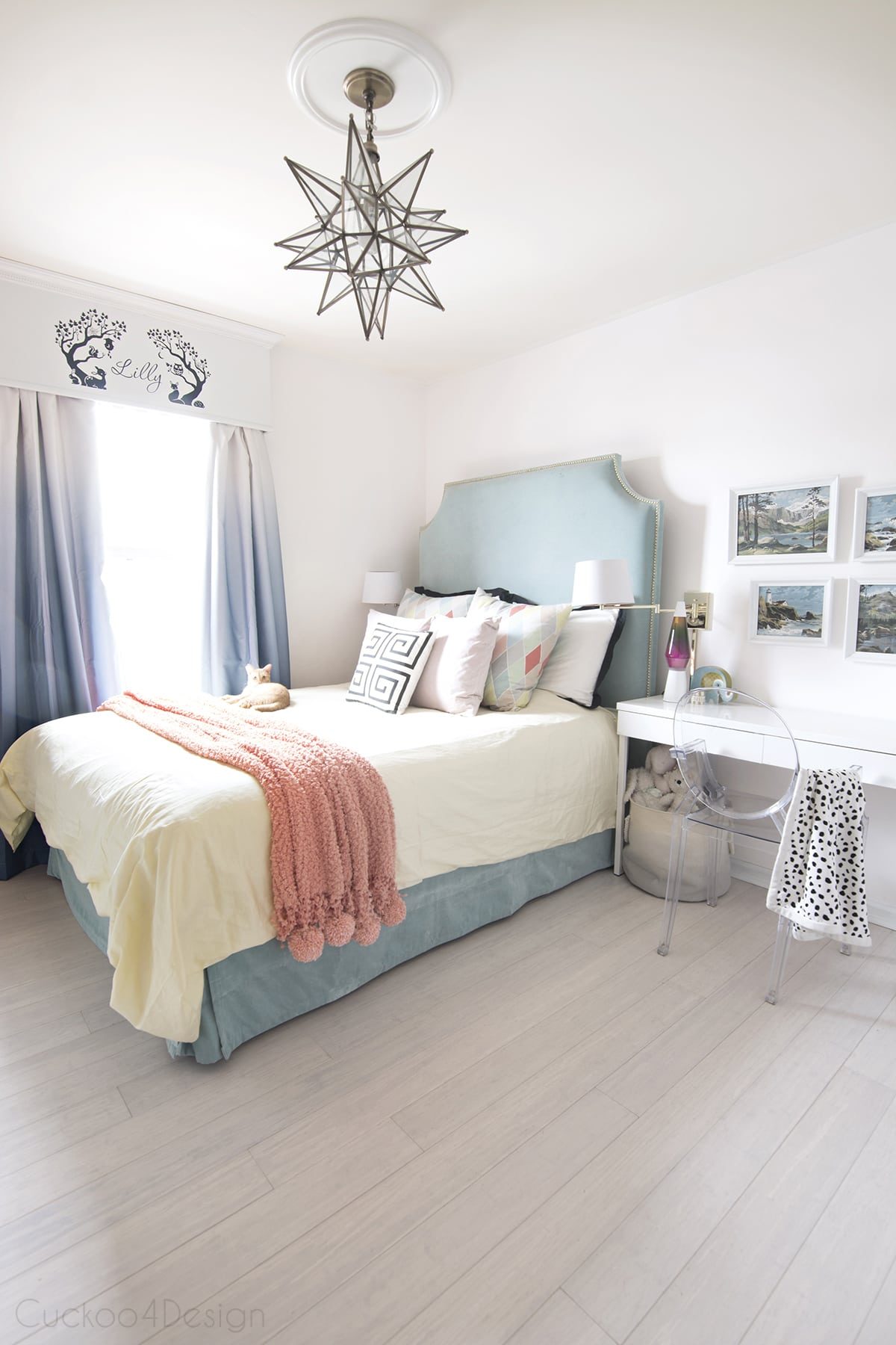 Teal, turquoise, coral and yellow girls bedroom | Cuckoo4Design