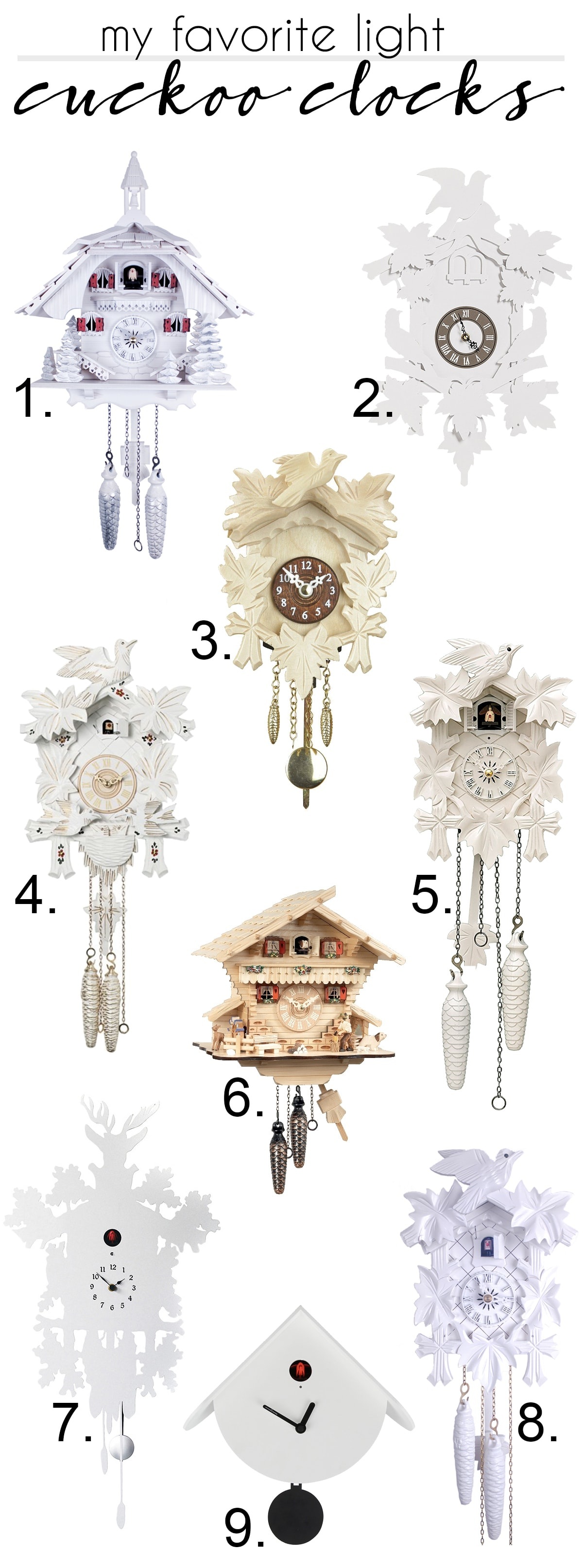 my favorite light colored cuckoo clocks