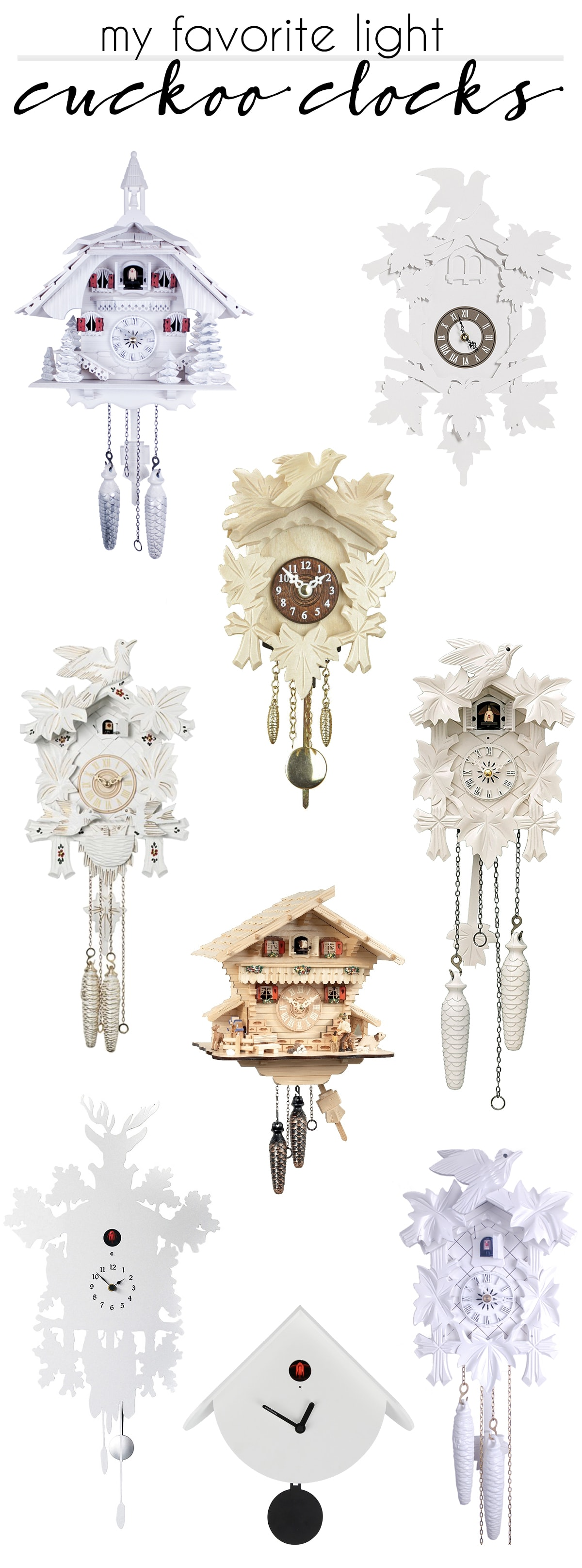my favorite light colored cuckoo clocks - white, cream and maple cuckoo clocks