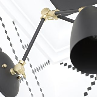 custom black and gold vanity light