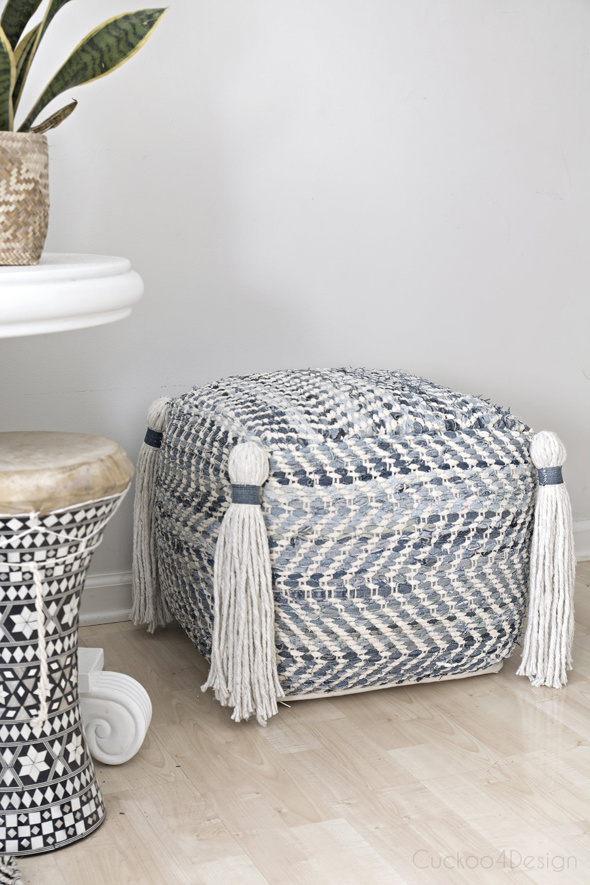 jeans chindi pouf with tassels