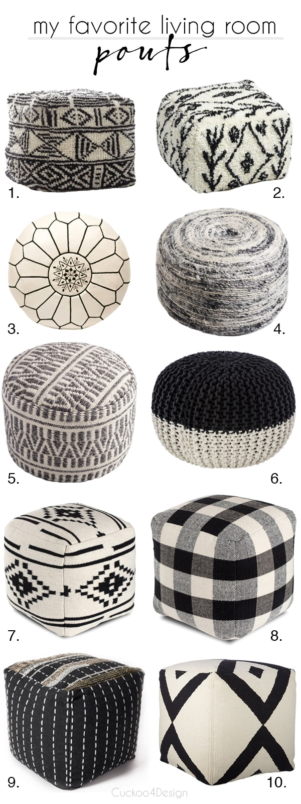 black and white living room poufs