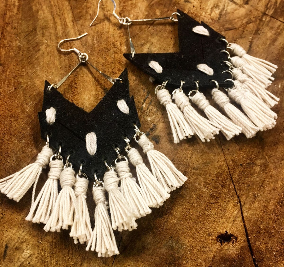 black and white suede tassel earrings