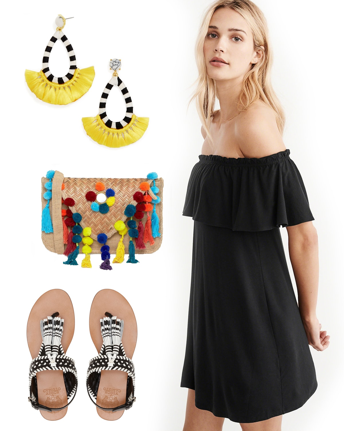 summer outfit with black off the shoulder dress and black and white earrings, sandals and pompom purse
