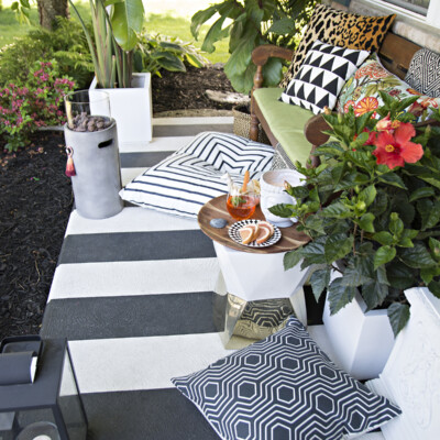 Tropical, black and white striped porch