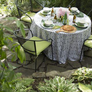 woodsy summer patio dinner