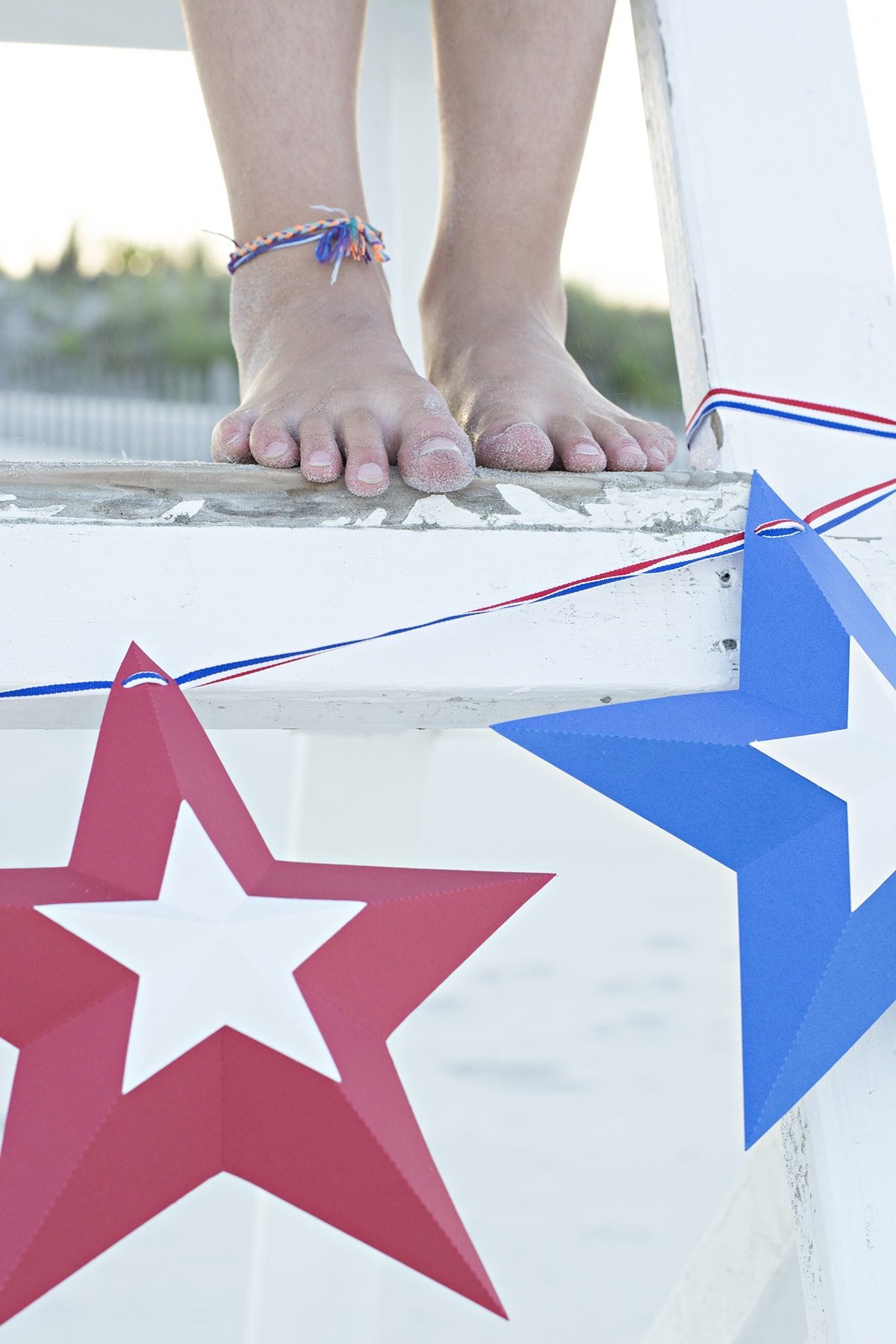 fourth of July star bunting on a lifeguard stand