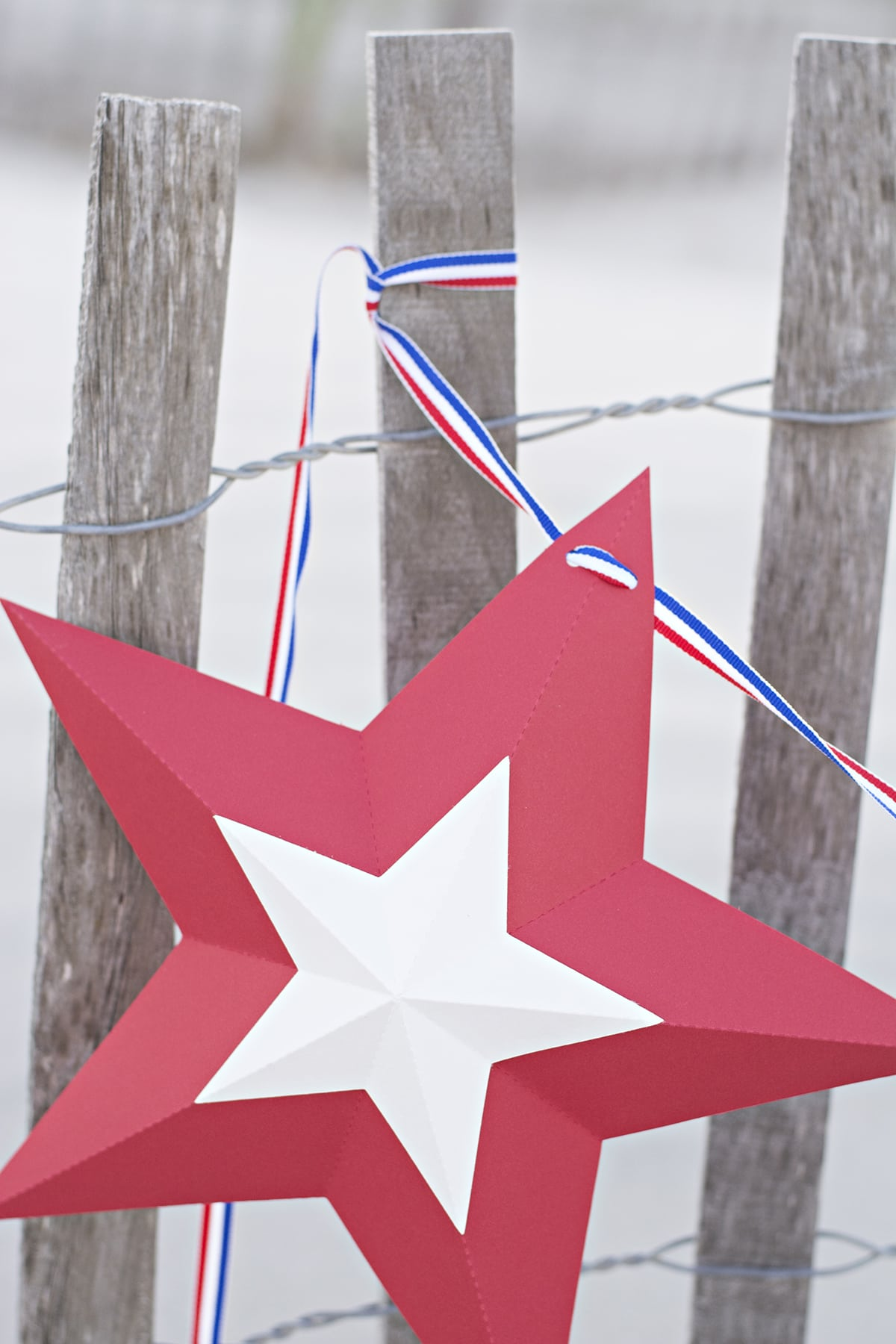 red, white and blue star bunting