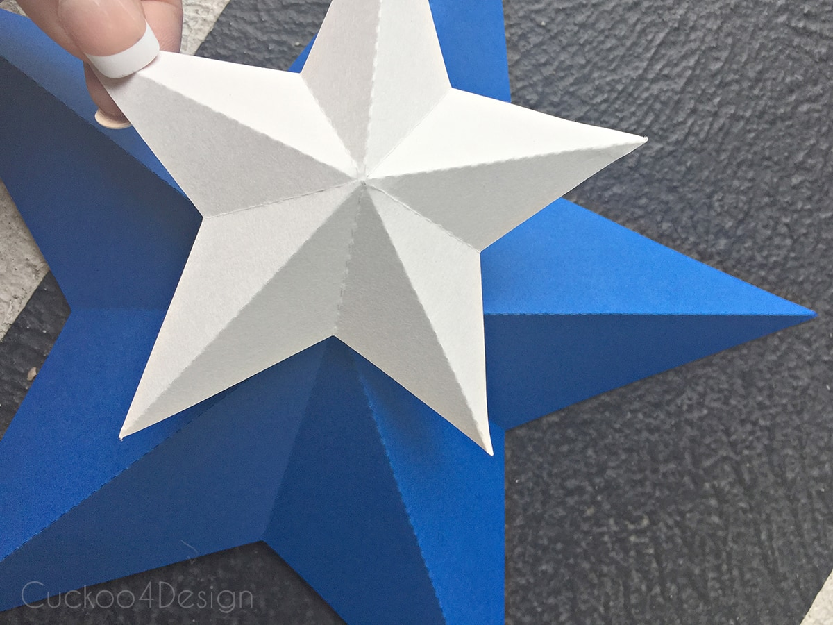 glueing stars together for star bunting
