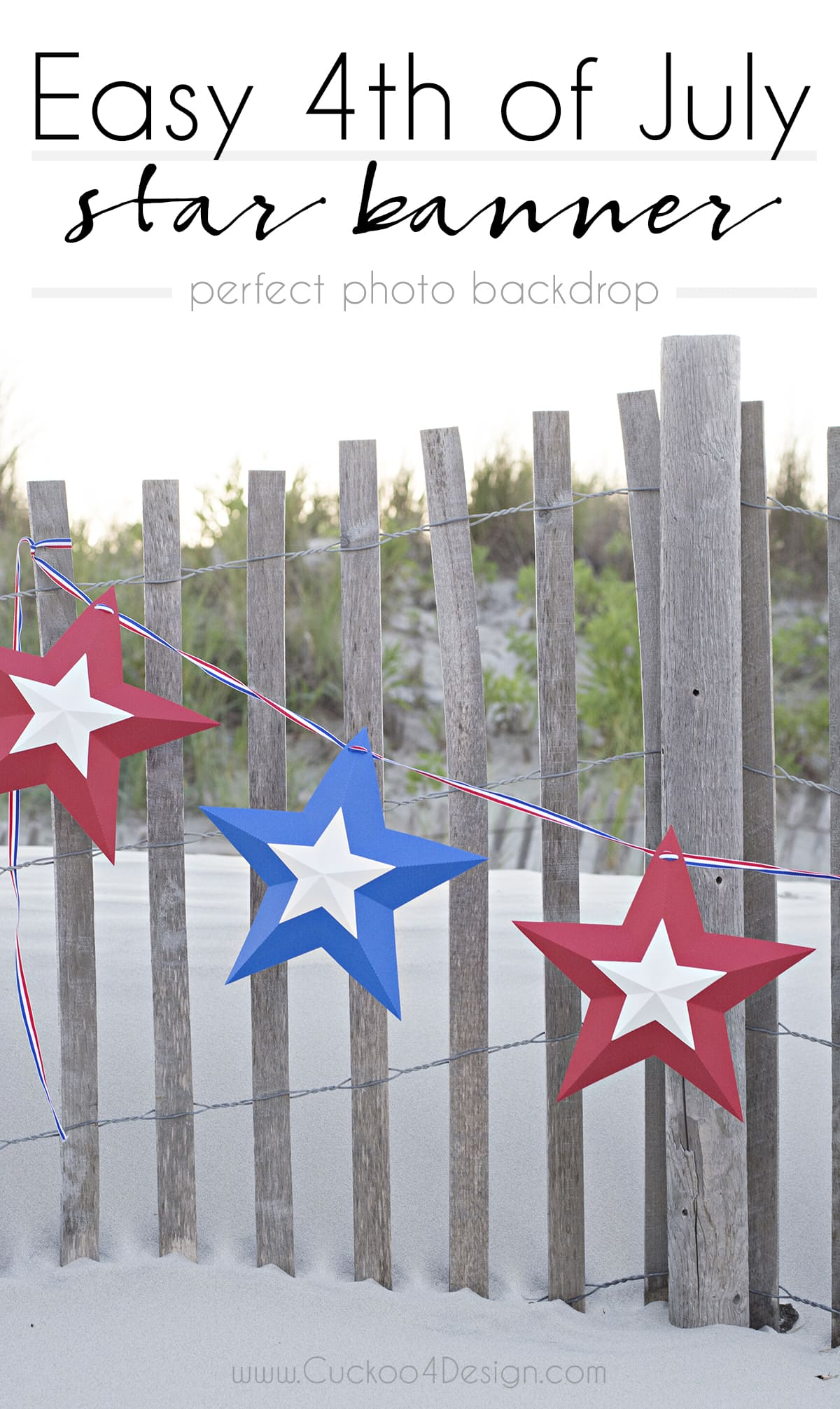 easy 4th of July star bunting photo backdrop